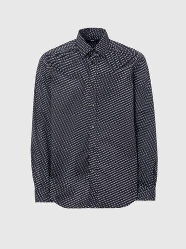 Poplin shirt with geo micro-print