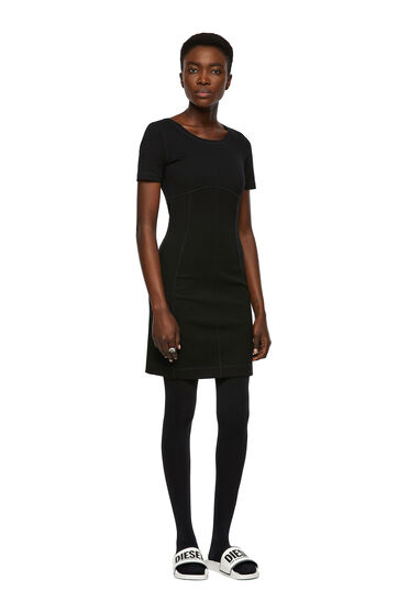 Milano-knit dress with panelled design
