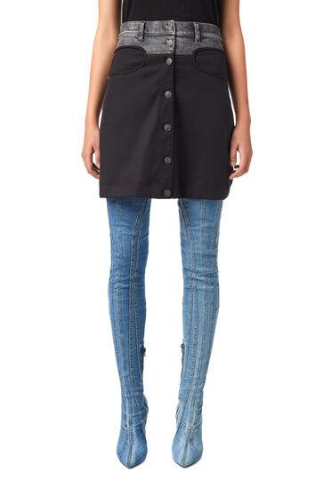 Skirt in Tencel-blend twill and denim