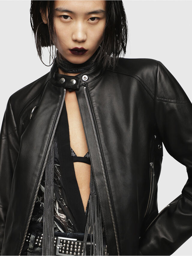 Diesel - L-SUZ, Black Leather - Leather jackets - Image 4