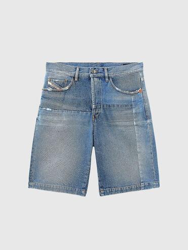 Straight shorts in vintage-effect denim