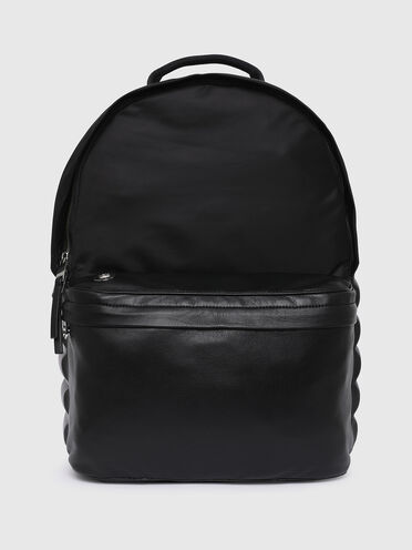 Backpack with embossed leather detail