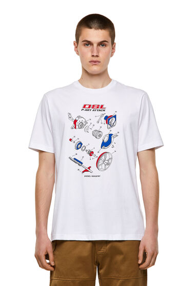 Cotton T-shirt with manual print