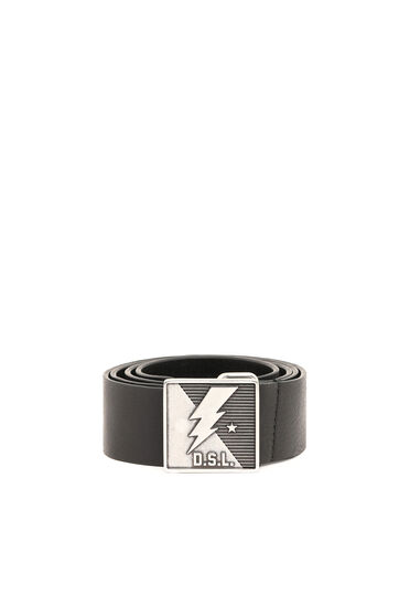 Leather belt with lightning buckle