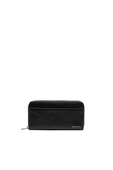 Zip-around wallet with denim detail