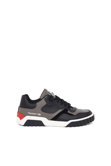 Low-top sneakers in leather and suede