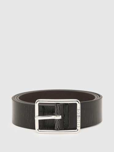 Faux-leather belt with wrinkled effect