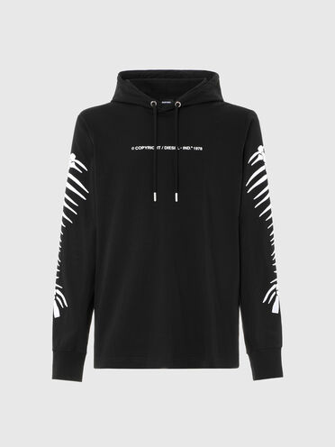 Hooded T-shirt with fishbone motif