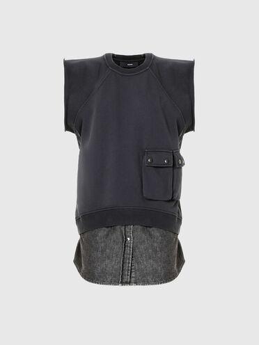 Hybrid sweatshirt with denim insert
