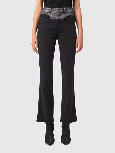Trousers in denim and twill