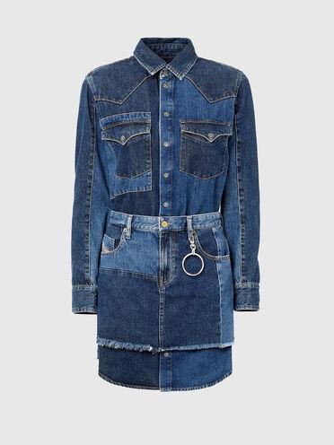 Western shirt dress in patchwork denim