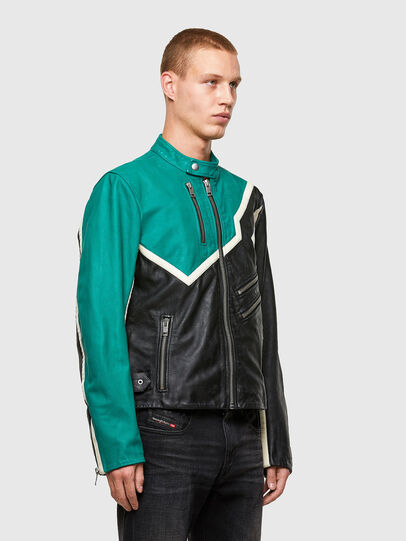 Diesel - L-PARKS, Black/Green - Leather jackets - Image 4