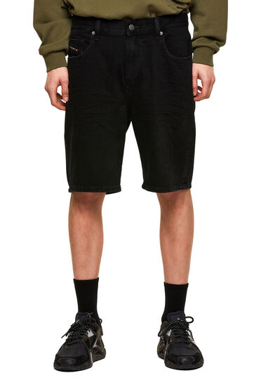 Slim shorts in solid-colour fix denim