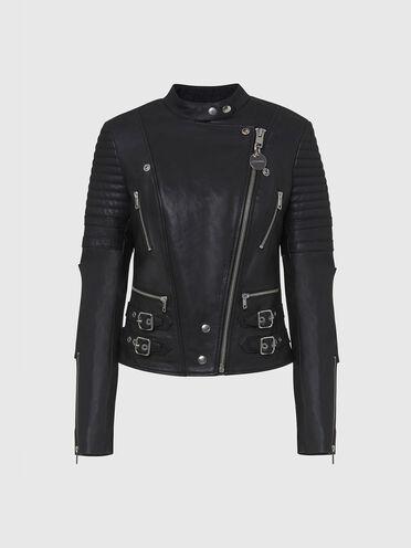 Flared biker jacket in sheepskin leather