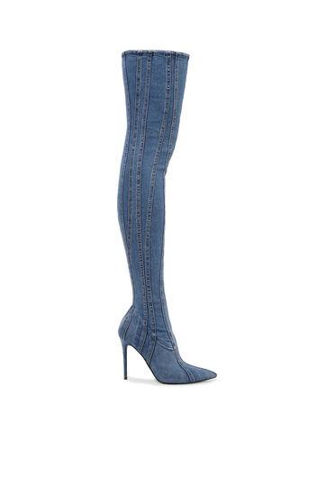 Over-the-knee boots in denim