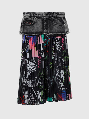 Skirt in denim and pleated georgette