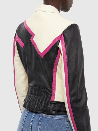 Diesel - L-JOBE, Black/White - Leather jackets - Image 4