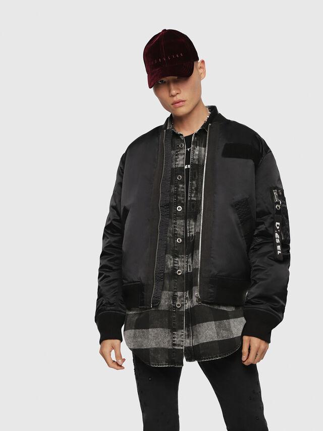 Diesel - J-SOULY, Bright Black - Jackets - Image 1