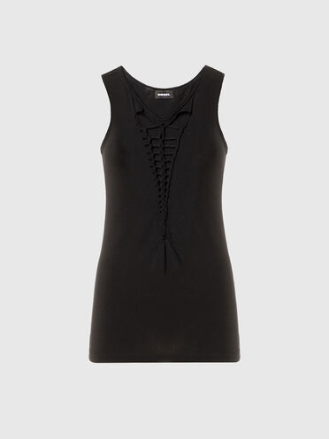 Tank top with braided cut-outs
