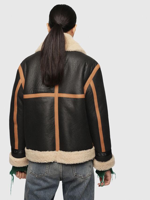 Diesel - L-FOLSON-FL, Black/Brown - Leather jackets - Image 2