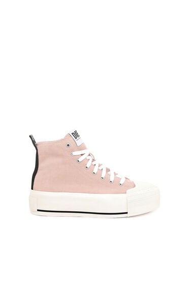 High-top sneakers in washed corduroy
