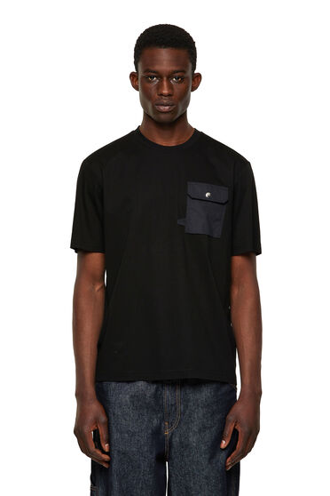 T-shirt with flap chest pocket