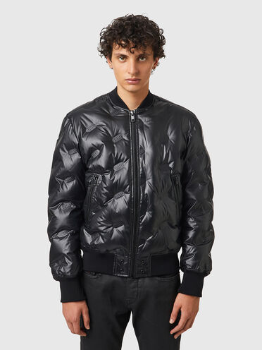 Down jacket with embossed logo quilting