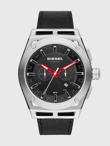 Timeframe chronograph black leather watch