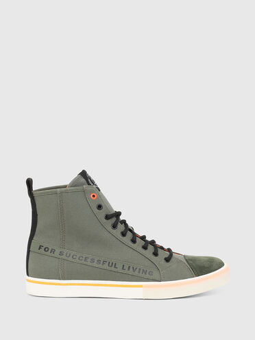 High-top sneakers in canvas and nylon