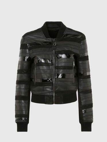 Bomber jacket in leather and suede