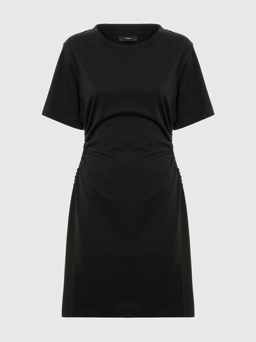 Jersey dress with drawstring cut-outs