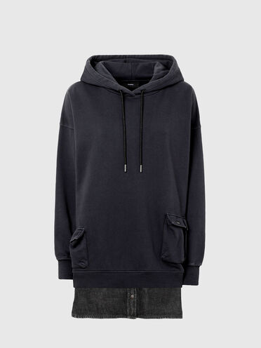 Layered-effect hooded dress
