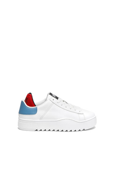 Leather sneakers with contrast trim