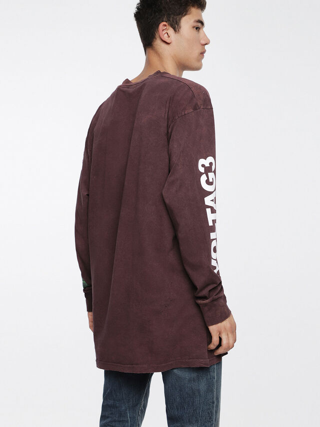 Diesel T-LUCAS-LS-XF, Burgundy - T-Shirts - Image 2