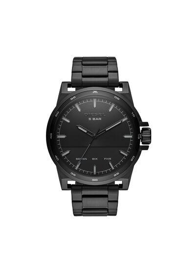 D-48 three-hand black stainless steel watch