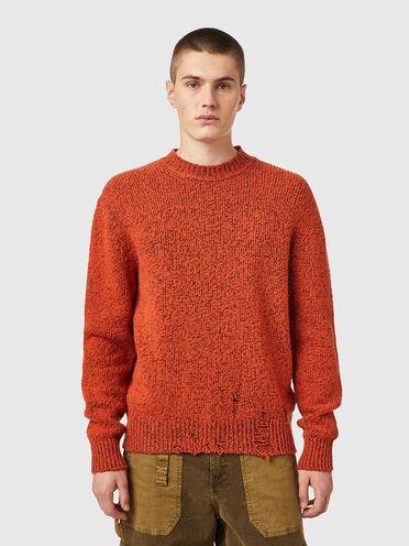 Distressed mélange pullover