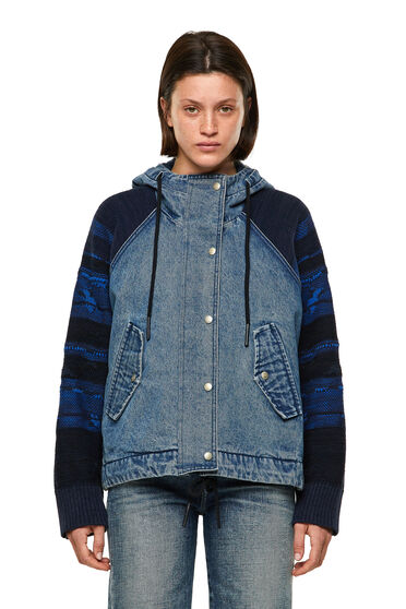 Hooded jacket with jacquard sleeves