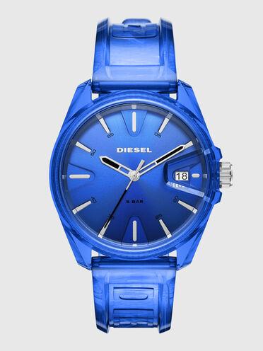 MS9 three-hand blue transparent watch