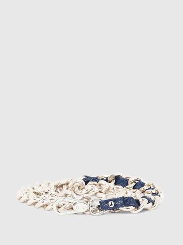 Chain belt with denim detail
