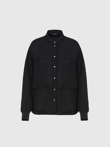 Fluid shirt with knitted detail
