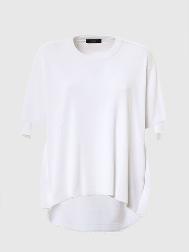 Top in cotton knit and fleece
