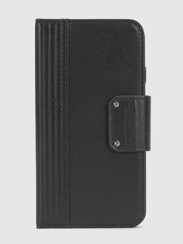 Diesel BLACK LINED LEATHER IPHONE 8/7 FOLIO, Black - Flip covers - Image 3