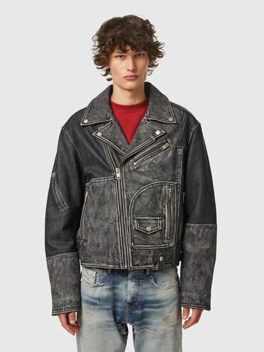 Biker jacket with reconstructed look