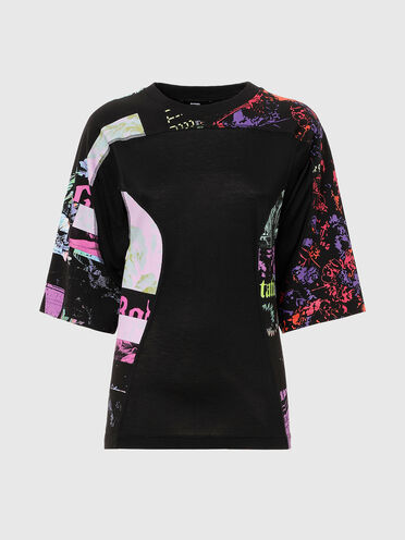 Plated knit T-shirt with digital print