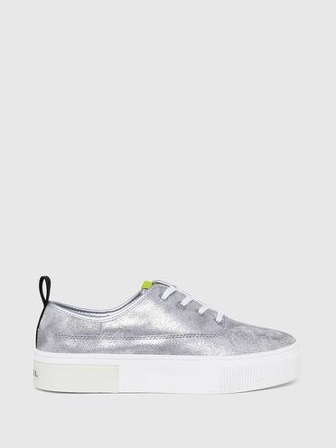 Flatform sneakers with metallic effect