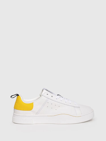 Leather sneakers with branded pull tab