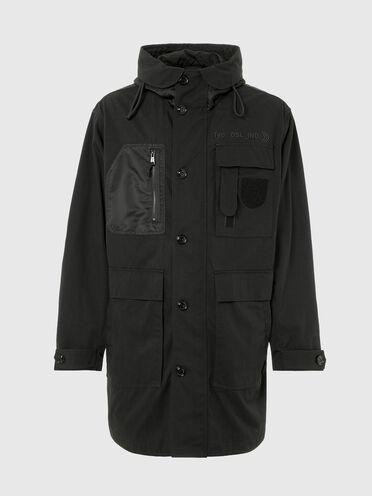 Long hooded jacket in nylon twill