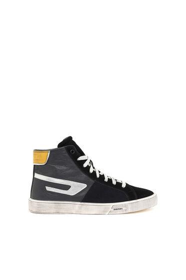 High-top sneakers with metallic D logo
