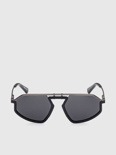 Geometric metal and injection-molded sunglasses