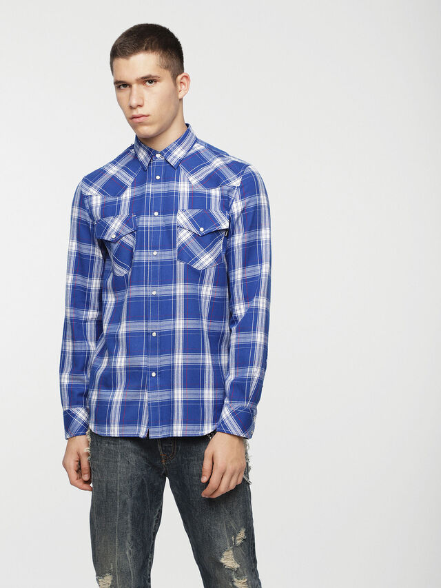 Diesel - S-EAST-LONG-C, Blue/White - Shirts - Image 1